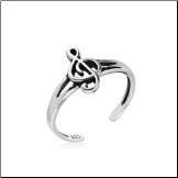 925 Sterling Silver Treble Clef Music Note Toe Ring