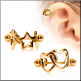 Gold Plated 316L Surgical Steel Earring Interlocked Heart or Star Cartilage Cuff 16G