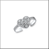 925 Sterling Silver Heart CZ Toe Ring