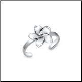 925 Sterling Silver Hibiscus Flower Toe Ring