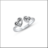 925 Sterling Silver Double Heart Toe Ring