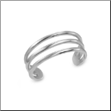 14KT White Gold Toe Ring Triple Band