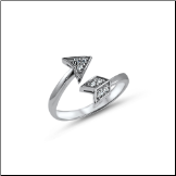 925 Sterling Silver Arrow CZ Toe Ring
