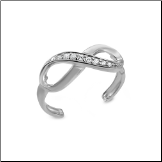 14KT Solid White Gold Infinity CZ Toe Ring