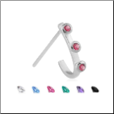 925 Sterling Silver Nose Stud Nose Hugger Triple CZ - Choose Your Style, Color & Gauge