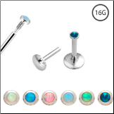 **BLOW OUT SALE** Surgical Steel Labret, Monroe Stud Ring Screw Post Choose Your Opal 16G