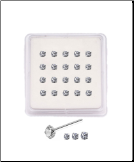 20 Pack 925 Sterling Silver Straight  Bend Nose Studs 1mm, 2mm, or 2.5mm Clear CZ 22G