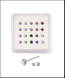 20 Pack 925 Sterling Silver Straight Nose Studs Rings 1mm, 1.5mm, 2mm, 2.5mm 4 Clawed Stones