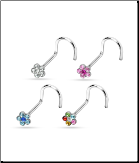 4 Pack 316L Surgical Steel Nose Screw Stud Ring Flowers - Choose Your Gauge