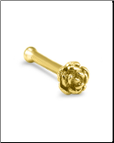 14KT Yellow Gold Nose Bone 3.5mm Rose 22G