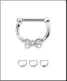 "316L Surgical Steel Bow Septum Clicker 9/32"" - 7mm Choose Your Color 16G"