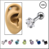 Ear Cartilage Jewelry 316L Surgical Steel 3mm Square CZ 18G