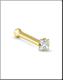 14KT Gold Nose Bone 1.5mm Square Gem 22G
