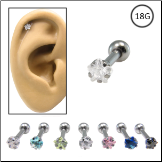 Ear Cartilage Jewelry 316L Surgical Steel 3mm Star CZ 18G