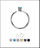 316L Surgical Steel Nose Ring Tragus Daith Helix Ear Cartilage Septum Hoop 2mm Stone 20G