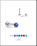 316 Stainless Steel Labret Style Nose Stud Threadless Push Pin Glued Opal 20G 18G 16G