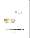 Yellow Gold Plated 316 Stainless Steel Labret Style Nose Stud Threadless Push Pin Glued CZ 20G 18G 16G