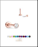 Rose Gold Plated 316 Stainless Steel Labret Style Nose Stud Threadless Push Pin Glued CZ 20G 18G 16G