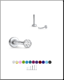316 Stainless Steel Labret Style Nose Stud Threadless Push Pin Glued CZ 20G 18G 16G