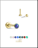 Yellow Gold Plated 316 Stainless Steel Labret Style Nose Stud Threadless Push Pin Glued Opal 20G 18G 16G