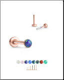 Rose Gold Plated 316 Stainless Labret Style Nose Stud Threadless Push Pin Glued Opal 20G 18G 16G