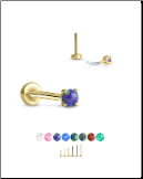 Yellow Gold Plated 316 Stainless Steel Labret Style Nose Stud Threadless Push Pin Prong Set Opal 20G 18G 16G