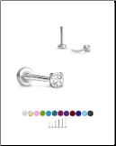 316 Stainless Steel Labret Style Nose Stud Threadless Push Pin Prong Set CZ 20G 18G 16G