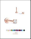 Rose Gold Plated 316 Stainless Steel Labret Style Nose Stud Threadless Push Pin Prong Set CZ 20G 18G 16G