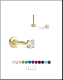 Yellow Gold Plated 316 Stainless Steel Labret Style Nose Stud Threadless Push Pin Prong Set CZ 20G 18G 16G