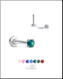 316 Stainless Steel Labret Style Nose Stud Threadless Push Pin Prong Set Opal 20G 18G 16G