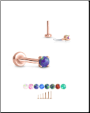 Rose Gold Plated 316 Stainless Steel Labret Style Nose Stud Threadless Push Pin Prong Set Opal 20G 18G 16G