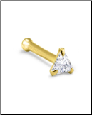 10KT Gold Nose Bone 3.5mm Triangle CZ 22G