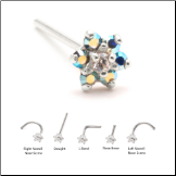 14KT Solid White Gold Nose Stud 4.5mm Blue Aurora AB Flower
