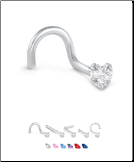 316L Surgical Steel Nose Stud 3mm Heart CZ