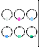 **BLOW OUT SALE** 6 Pack 316L Surgical Steel Captive Bead Nose Ring Hoop Septum 16G