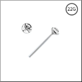 925 Sterling Silver Straight Nose Stud 2.5mm Clear Gem 22G