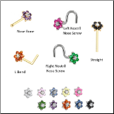 Custom Design Your Colorful Flower Nose Ring Stud