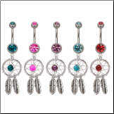 "**BLOW OUT SALE** 316L Surgical Steel Navel Belly Button Ring 7/16"" Colorful Dream Catcher 14G"
