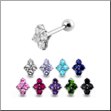 **BLOW OUT SALE** 316L Surgical Steel Ear Cartilage Helix Tragus Piercing 4 Stone Cluster 17G
