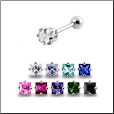 **BLOW OUT SALE** 316L Surgical Steel Ear Cartilage Ring Helix Tragus Piercing 6mm Square 17G