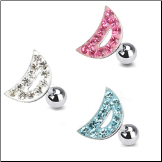 **BLOW OUT SALE** 316L Surgical Steel Ear Cartilage Tragus Helix Jewelry Moon - Choose Your Color 16G