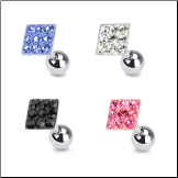**BLOW OUT SALE** Ear Cartilage Tragus Helix Jewelry 5mm Square - Choose Your Color 16G