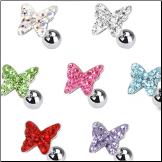 **BLOW OUT SALE** Ear Cartilage Tragus Helix Jewelry 8mm Butterfly - Choose Your Color 16G