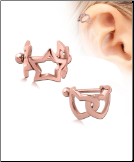 Rose Gold Plated 316L Surgical Steel Earring Interlocked Heart or Star Cartilage Cuff 16G