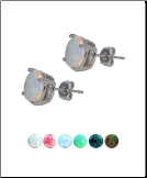 **BLOW OUT SALE** 316L Surgical Steel Earrings 4mm Round Faux Opal Choose Your Color