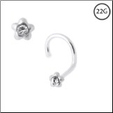 925 Sterling Silver Nose Screw 3mm Flower 22G