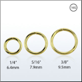 Nose Ring Continuous Seamless Hoop 18KT Gold Plated Sterling Silver -Choose Your Size 16G