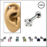 Ear Cartilage Jewelry 316L Surgical Steel 3mm Heart CZ 18G