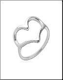925 Sterling Silver Lovelia Hollow Heart Ring Size 6 or 7