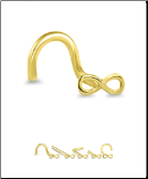 14KT or 10KT Yellow Gold Nose Screw Infinity
